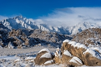 Winter descends on Mount Whitney Lone Pine CA