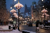 Winter evening in Warsaw Poland