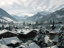 Winter in the village of Gstaad Swiss Alps