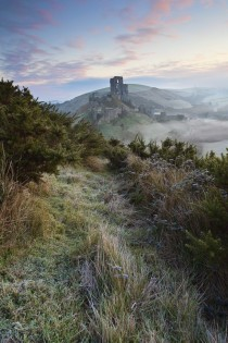 Winter mist at Corfe Castle Dorset