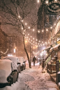Winter Night East th Street East Village NY