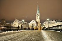 Winter Night in Zurich Switzerland