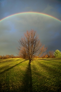 Winter Rainbow Taken at Sunset  Melrose NY