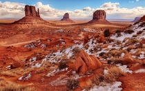 Winter snow in Monument Valley Utah  photo by Jeff Clow