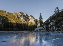 Winter Solstice at Frozen Big Bear Lake in the Trinity Alps of Northern California