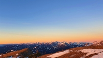 Winter sunrise at the east end of the Alps Hochschwab mountains Austria