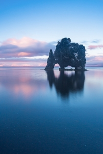 Winter sunset at Hvtserkur sea stack in Northern Iceland