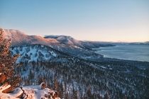 Winter sunset at Lake Tahoe CA