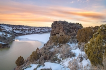 Winter sunset at Massacre Rocks State Park also named the Gate of Death so named because emigrants along the Oregon Trail feared being ambushed while passing through the rocky terrain though only a few skirmishes actually occurred Southeastern Idaho USA