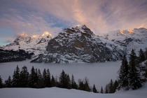 Winter Sunset at Mrren Switzerland by Thomas Leuzinger