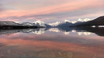 Winter sunset Lake McDonald Glacier National Park MT USA