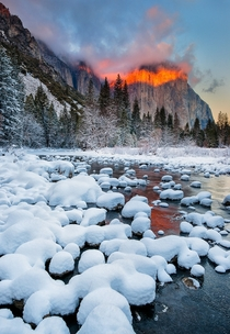 Winter Sunset Over El Capitan    Yosemite National Park California USA    Photographed by Jay Lee