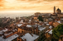 Winter sunset over the upper city of Bergamo northern Italy  xpost from rItalyPhotos