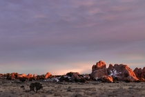 Winter tightens her grip as the last warm light fades away in Moab Utah