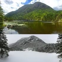 Winter vs Summer - view of Wildcat from the Carter Lakes in New Hampshire