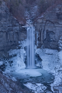 Winter wonderland already appearing at the tallest waterfall of the eastern US Taughannock Falls New York
