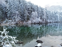 Winter wonderland at Eibsee Bavaria Germany  OC