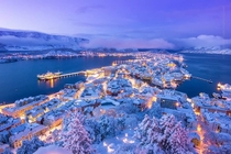 Winter wonderland in Aalesund Norway Aksla viewpoint
