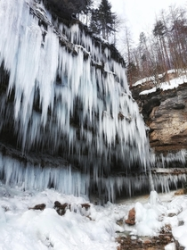 Winter Wonderland under the frozen Pericnik Waterfall Slovenia  x