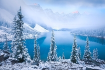 Wintry Lake Moraine in Alberta Canada