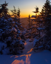 Wintry Mountain Sunrise Adirondack Mountains NY