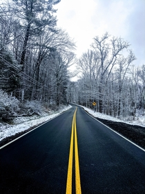 Wintry Road in Cuyahoga Valley National Park OH