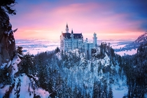 Wintry Views of Neuschwanstein Castle Bavaria Germany