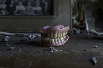 Wipe that stupid grin off your face Dentures found in a bedroom of an abandoned house OC X