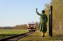 Wismar railbus in the countryside near the Germany-Netherlands border