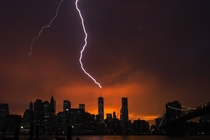 With the sun setting over New York on July   the One World Trade Center building in Manhattan is struck by lightning during a summer storm REUTERS
