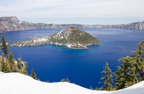 Wizard Island in Crater Lake National Park OR