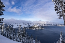 Wizard Island with a fresh coat of snow Crater Lake National Park