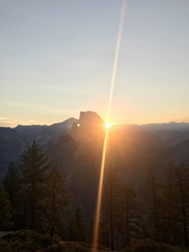 Woke up at AM to see the sunrise over Half Dome Yosemite Park California