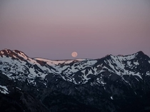 Woke up early one morning on a backpacking trip and was lucky to see the moon setting in the Buckhorn Wilderness WA  IG TallCupOfChocolateMilk
