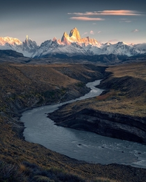 Wonderful glow on Fitz Roy in Patagonia at sunrise  Ig holysht