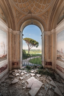 Wonderful view from a neglected villa in Italy