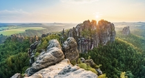 Wonderwall Sunset at Elbsandsteingebirge Sachsen Germany by Philipp Zieger