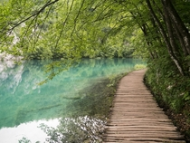 Wooden path by the lake at Plitvice Lakes National Park Croatia