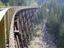 Wooden trestle on the Kettle Valley Railway in British Columbia before it was destroyed in a forest fire