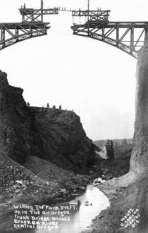 Workers on the Crooked River Railroad bridge