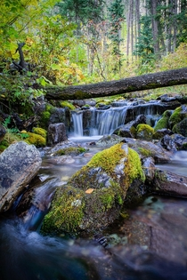 Working through a photography rut by shooting some hidden falls outside Whitefish Montana