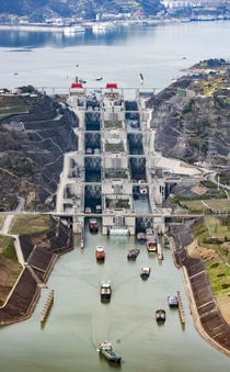 Worlds greatest dam Three Gorges China needs the worlds greatest ship lock Steps   Lanes   Elevation change m  Fks given