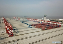 Worlds largest automated container terminal on an artificial island  kilometers off the coast of Shanghai China