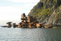 Wreck of a Russian light cruiser in Norway