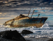 Wreck of the SS America on the coast of Fuerteventura Canary Islands  Photo by Pedro Lpez Batista