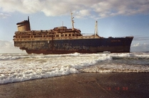 Wreck of the SS American Star formerly SS America shown in  six years after running aground and splitting in two
