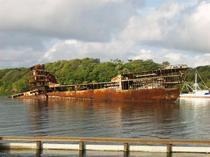 Wrecked and abandoned freighter at Dixon CoveMahogany Bay Isla Roatan Honduras