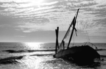 Wrecked sailboat on the Gulf coast