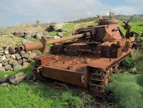 WW era German Panzer  - sold to Syria - knocked out in  during the Six-Day War and now rusting away on the Golan Heights
