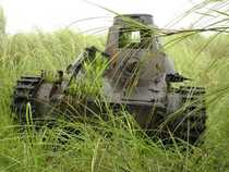 WW Japanese type  tank found on the island of Guam Along with the WW Japanese tanks type  Chi ha